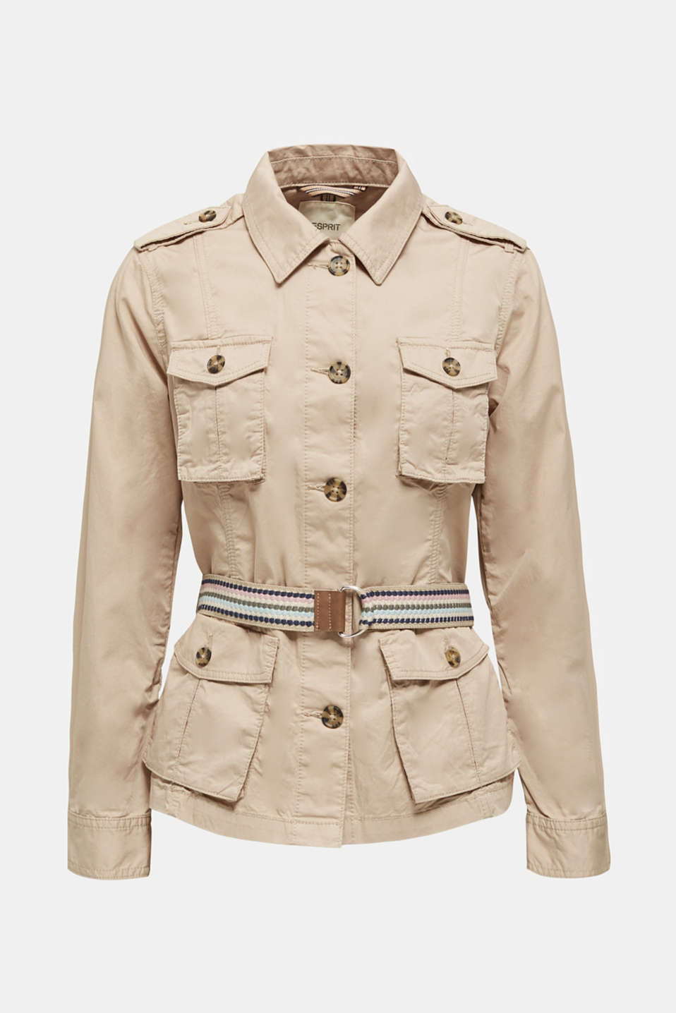 Jacket with a belt, 100% organic cotton, BEIGE, detail image number 7