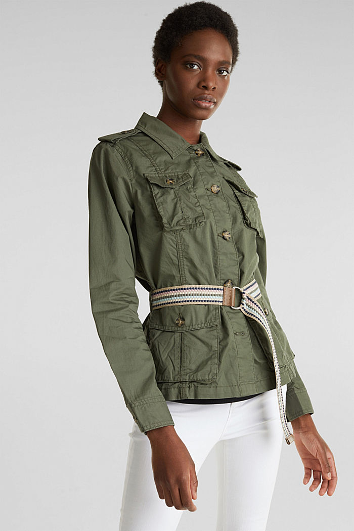 Jacket with a belt, 100% organic cotton, KHAKI GREEN, detail image number 0