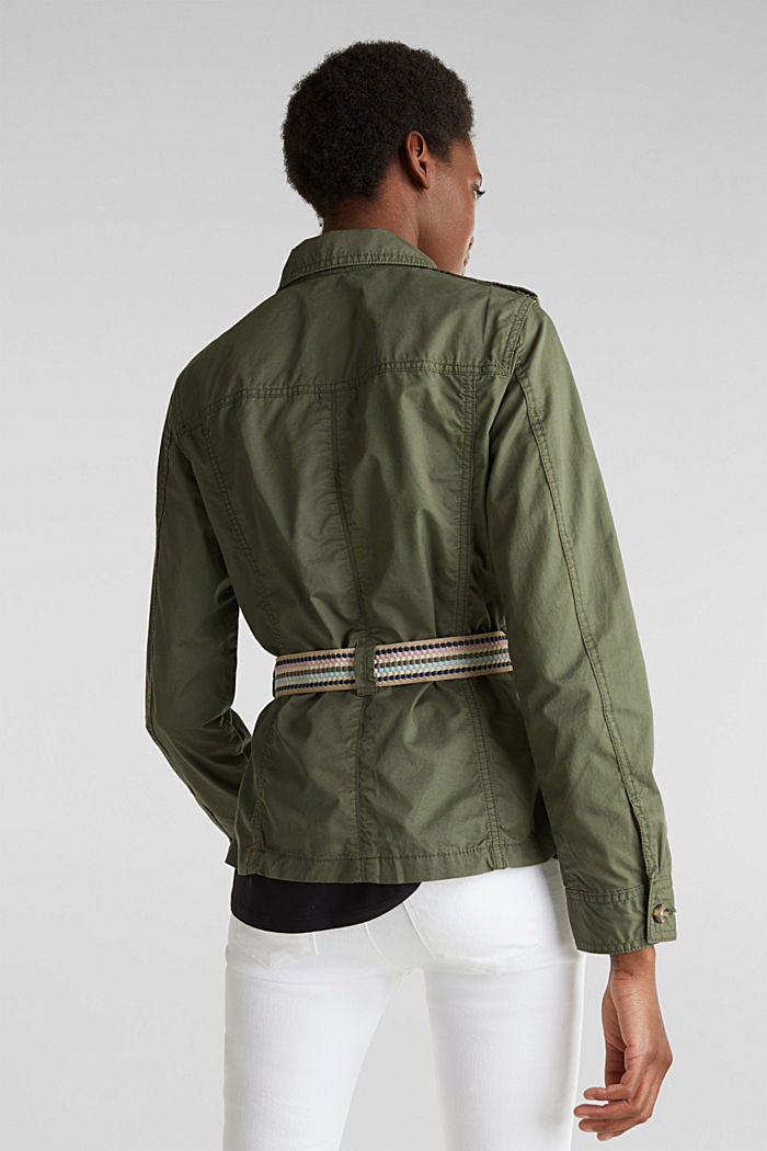 Jacket with a belt, 100% organic cotton, KHAKI GREEN, detail image number 2