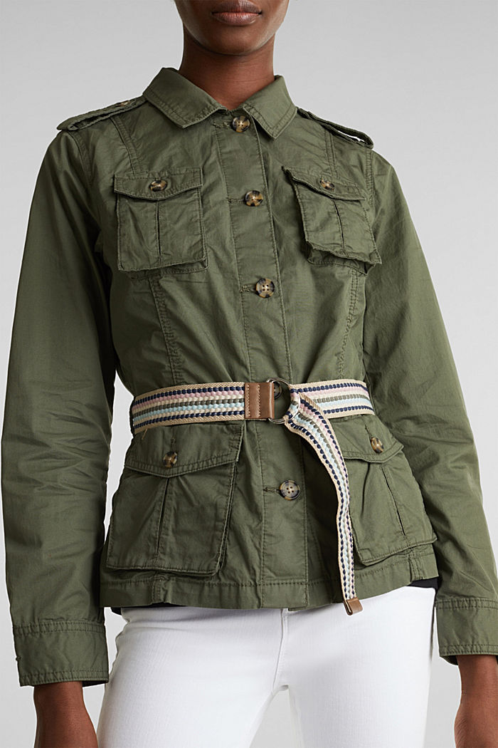 Jacket with a belt, 100% organic cotton, KHAKI GREEN, detail image number 3