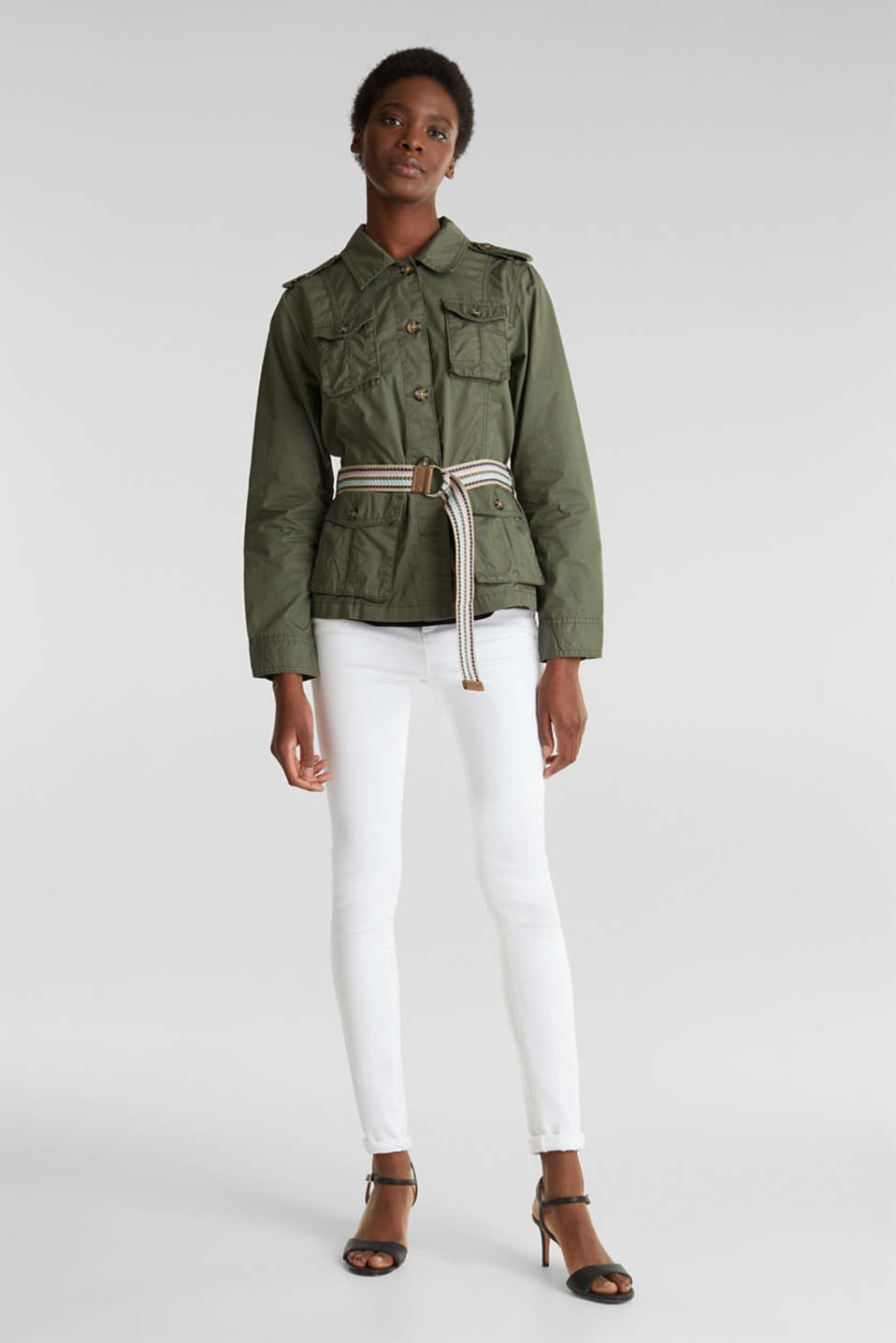 Jacket with a belt, 100% organic cotton, KHAKI GREEN, detail image number 1