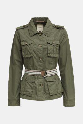 Jacket with a belt, 100% organic cotton, KHAKI GREEN, detail
