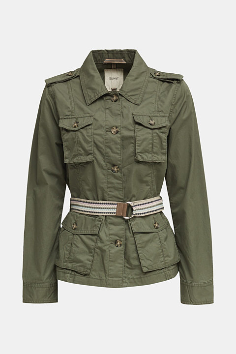 Utility jacket with a belt, 100% organic cotton