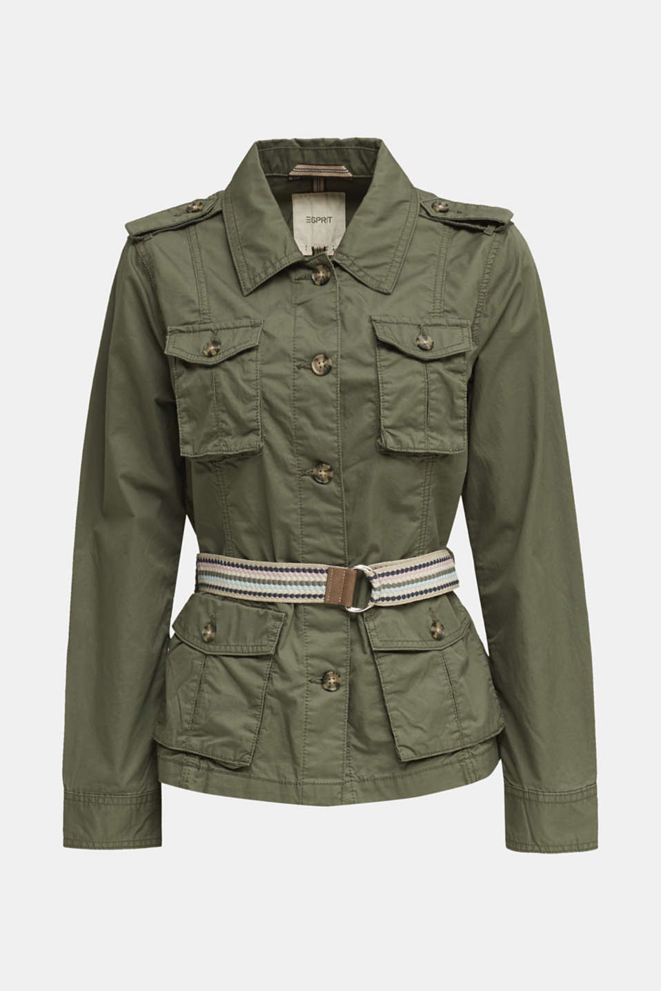 Jacket with a belt, 100% organic cotton, KHAKI GREEN, detail image number 5
