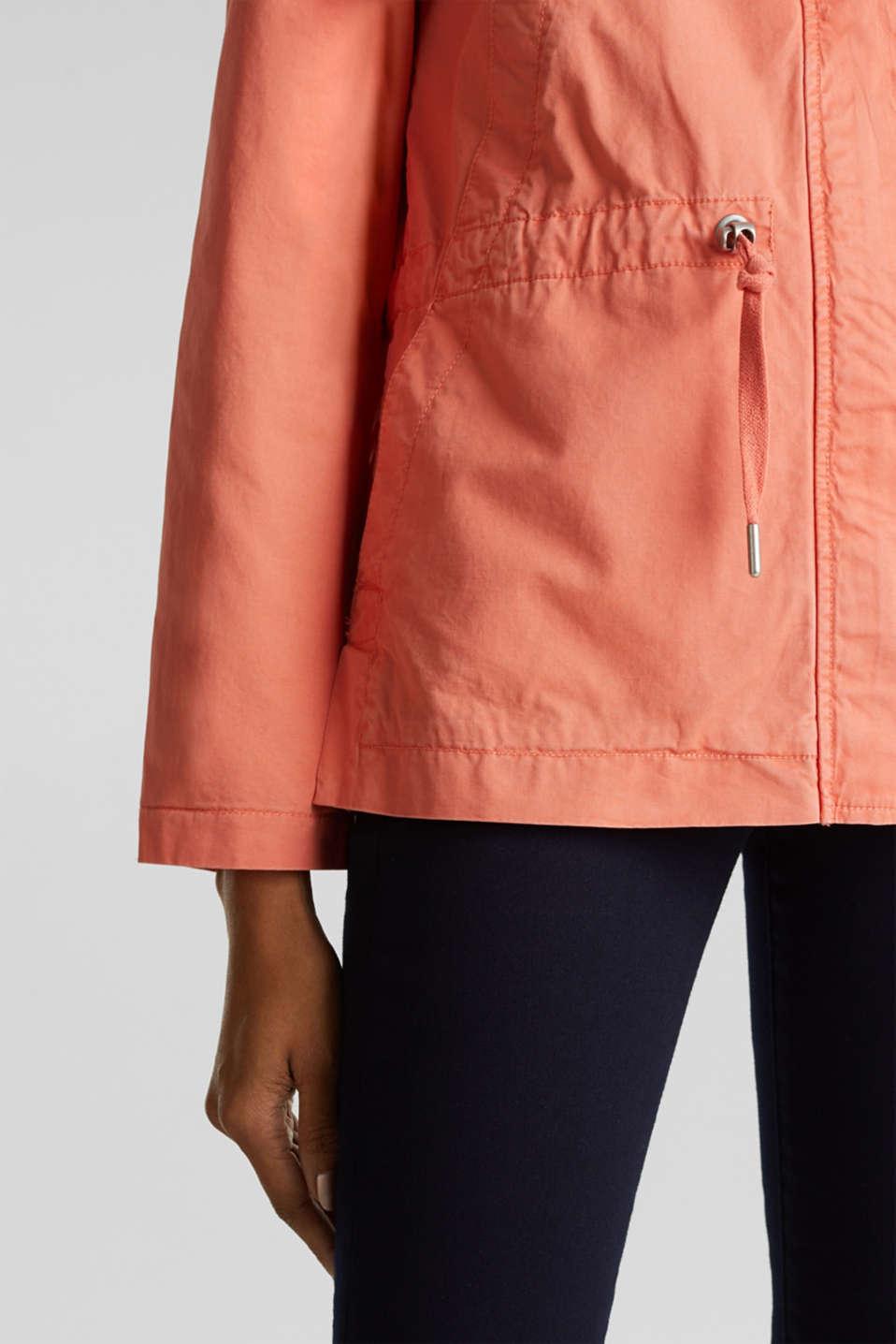 Hooded parka in a garment-washed look, ORANGE, detail image number 5