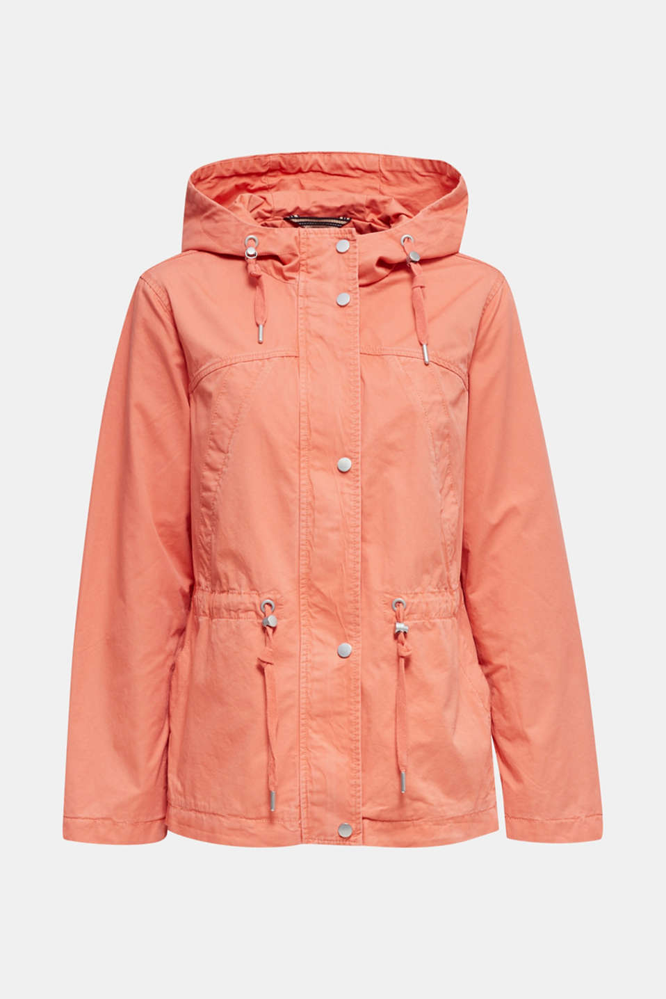 Hooded parka in a garment-washed look, ORANGE, detail image number 6