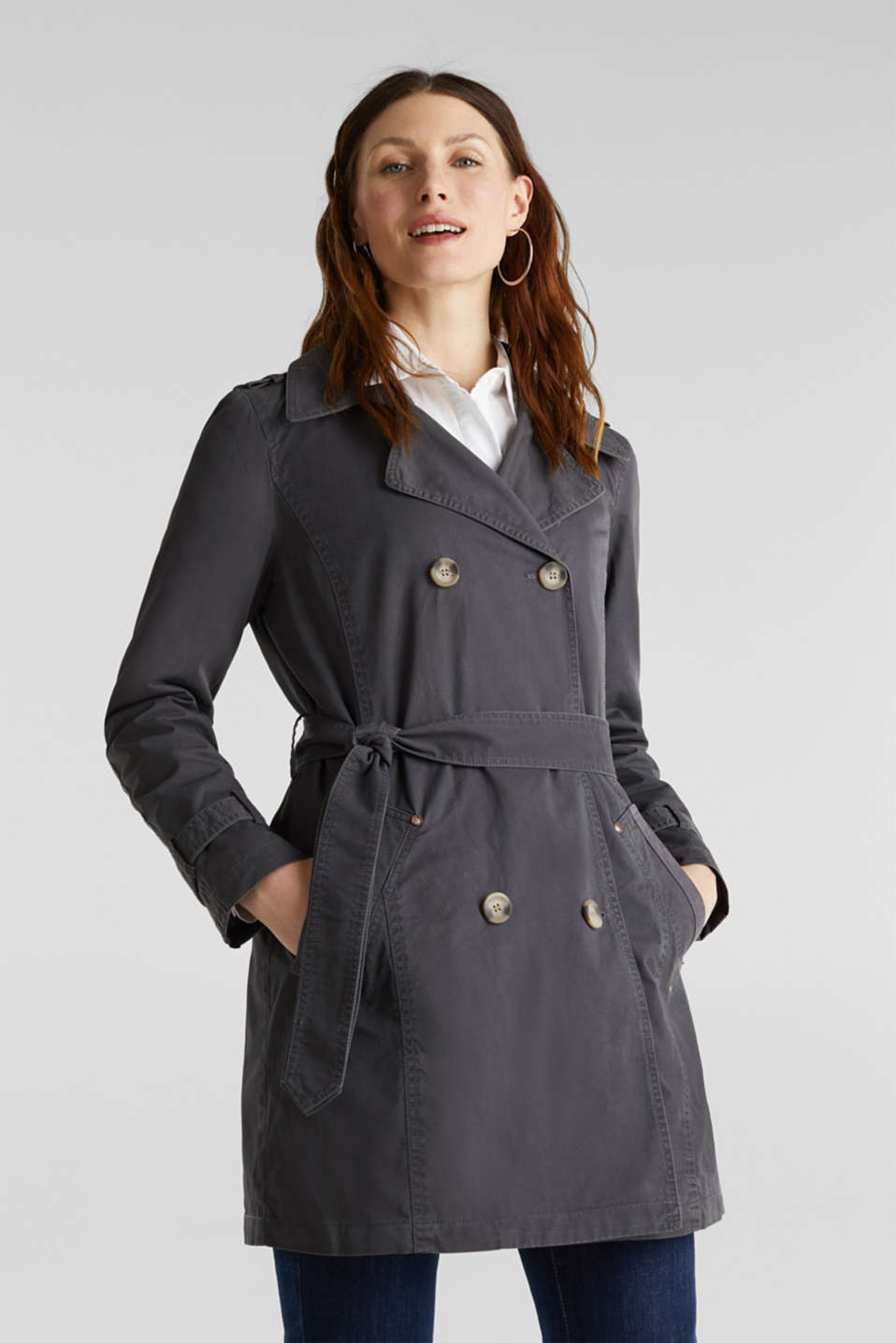 Garment washed cotton trench coat, GUNMETAL, detail image number 0
