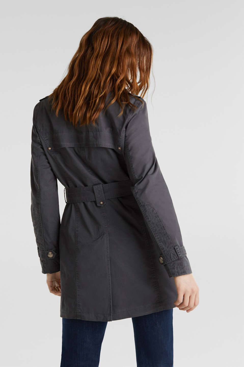 Garment washed cotton trench coat, GUNMETAL, detail image number 3