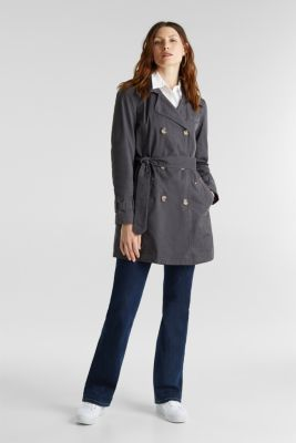 Garment washed cotton trench coat, GUNMETAL, detail