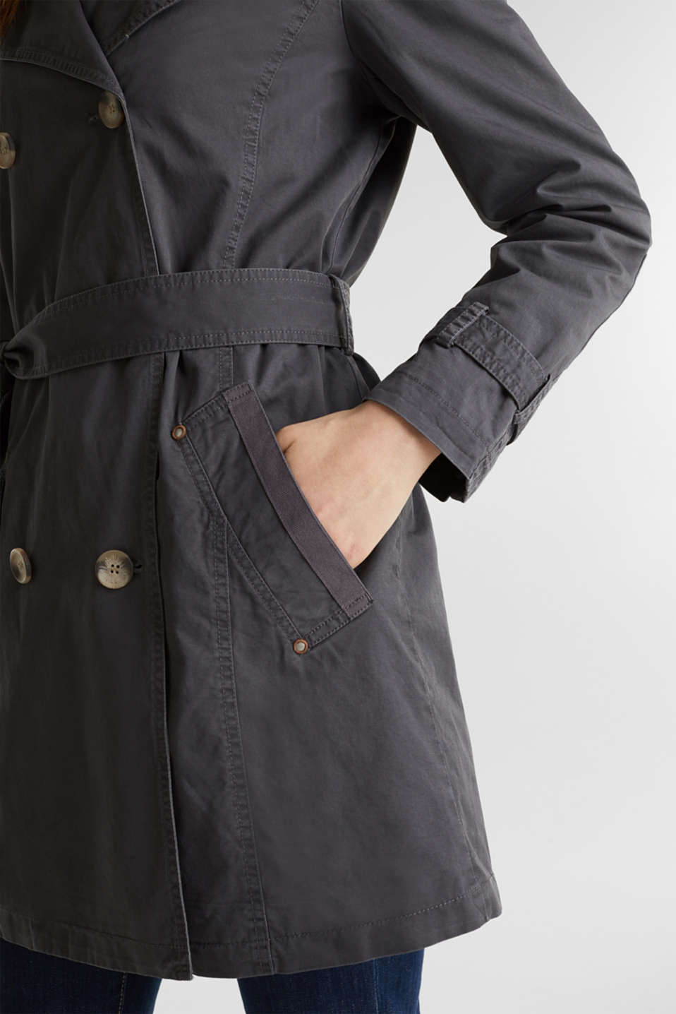 Garment washed cotton trench coat, GUNMETAL, detail image number 2