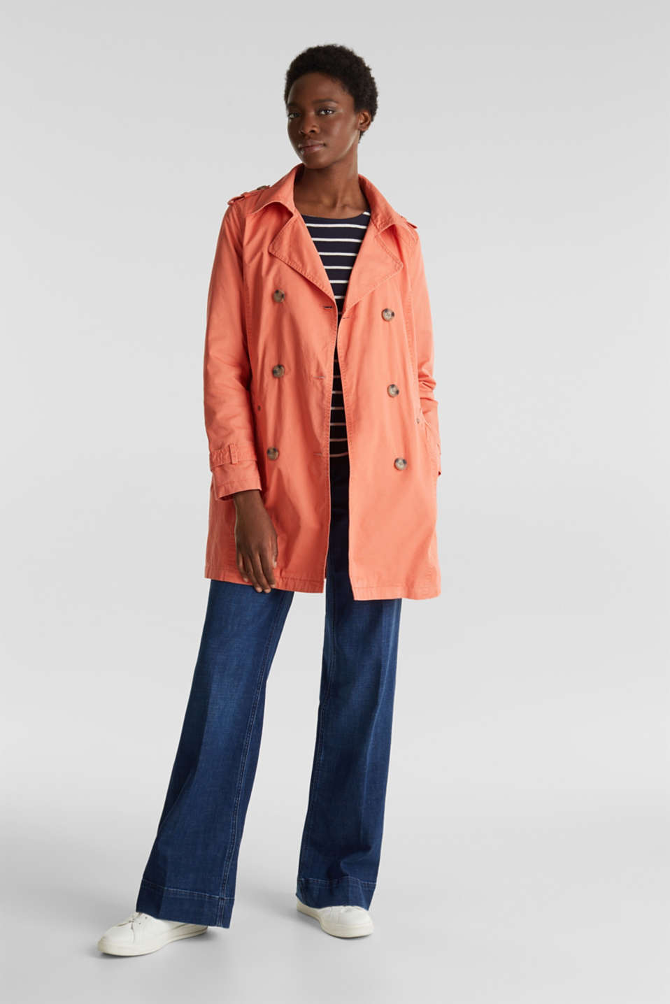 Esprit - Garment washed cotton trench coat