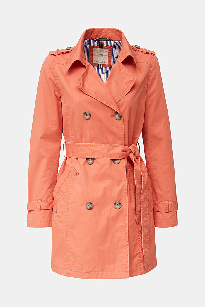 Garment washed cotton trench coat