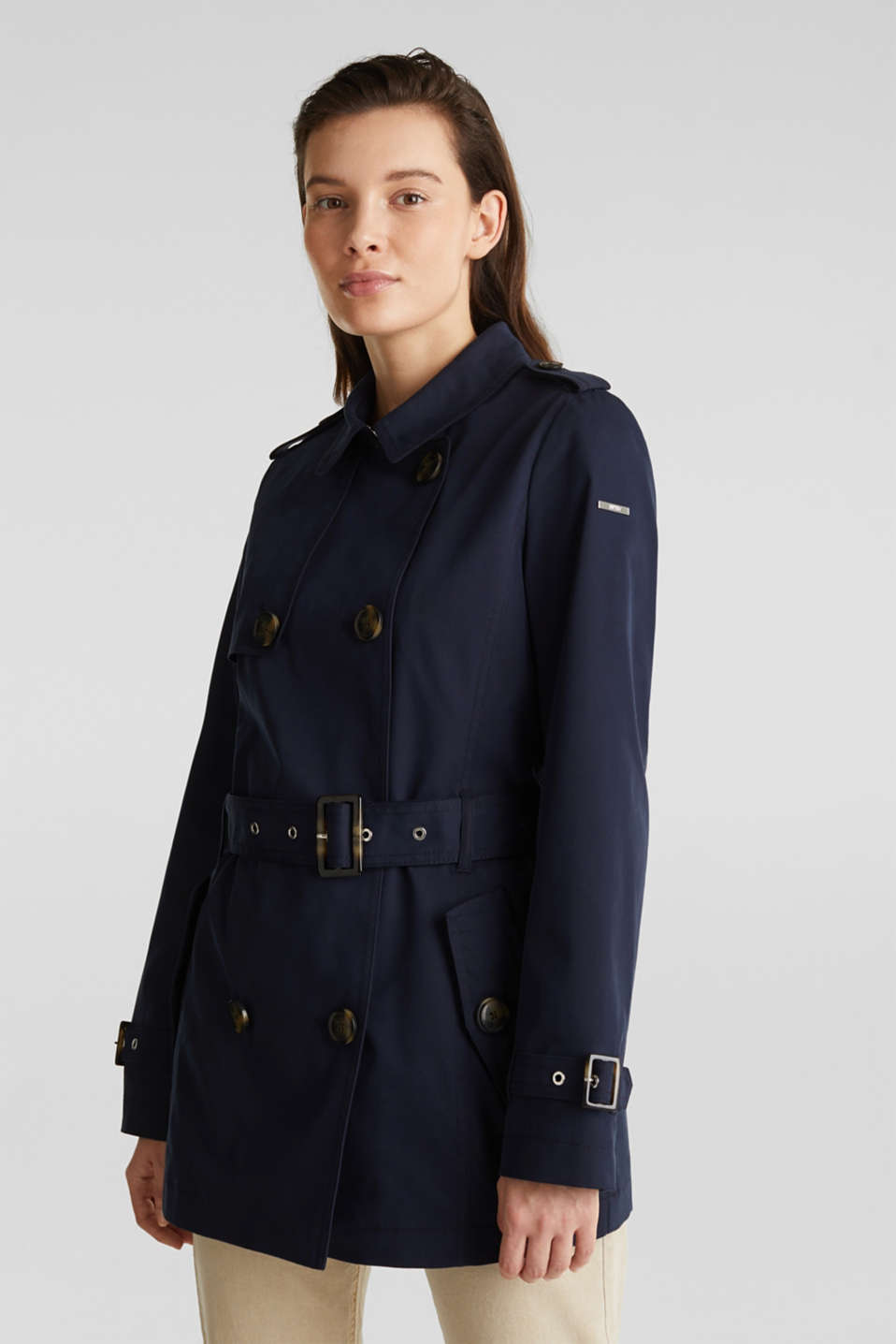 Double-breasted trench coat in blended cotton, NAVY, detail image number 0