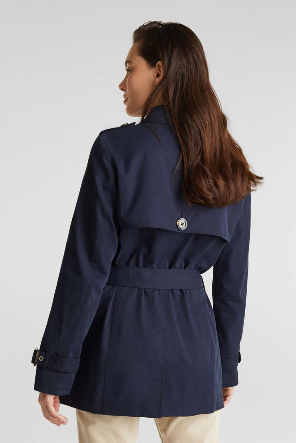 Double-breasted trench coat in blended cotton, NAVY, detail image number 3