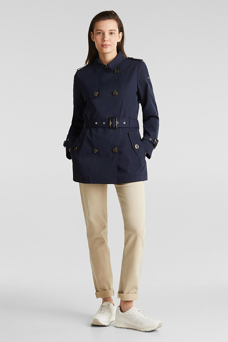 Double-breasted trench coat in blended cotton