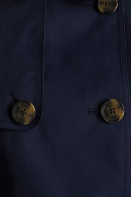 Double-breasted trench coat in blended cotton, NAVY, detail