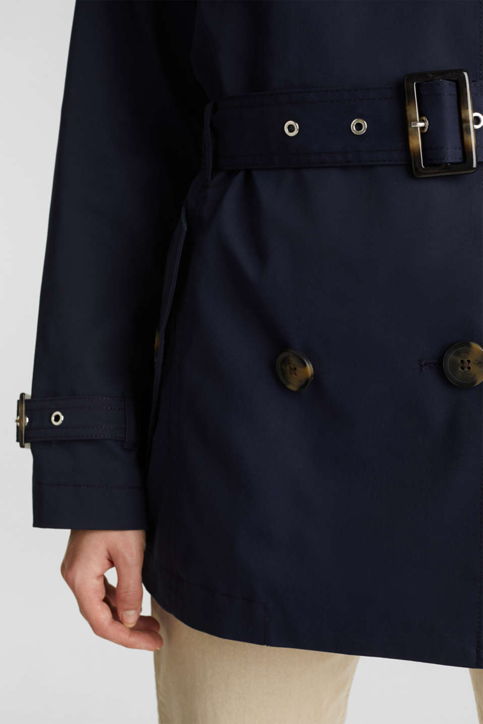 Double-breasted trench coat in blended cotton, NAVY, detail image number 5