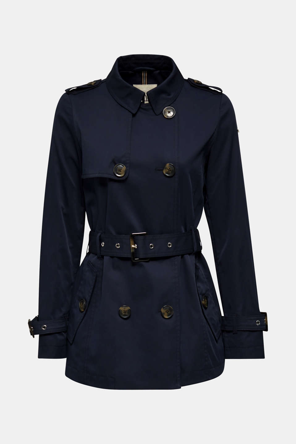 Double-breasted trench coat in blended cotton, NAVY, detail image number 6