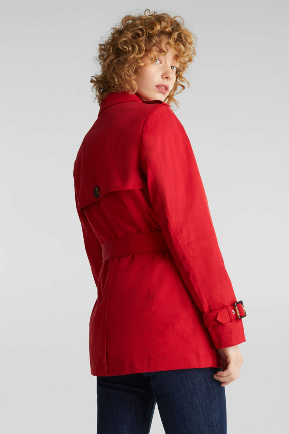 Double-breasted trench coat in blended cotton, DARK RED, detail image number 3