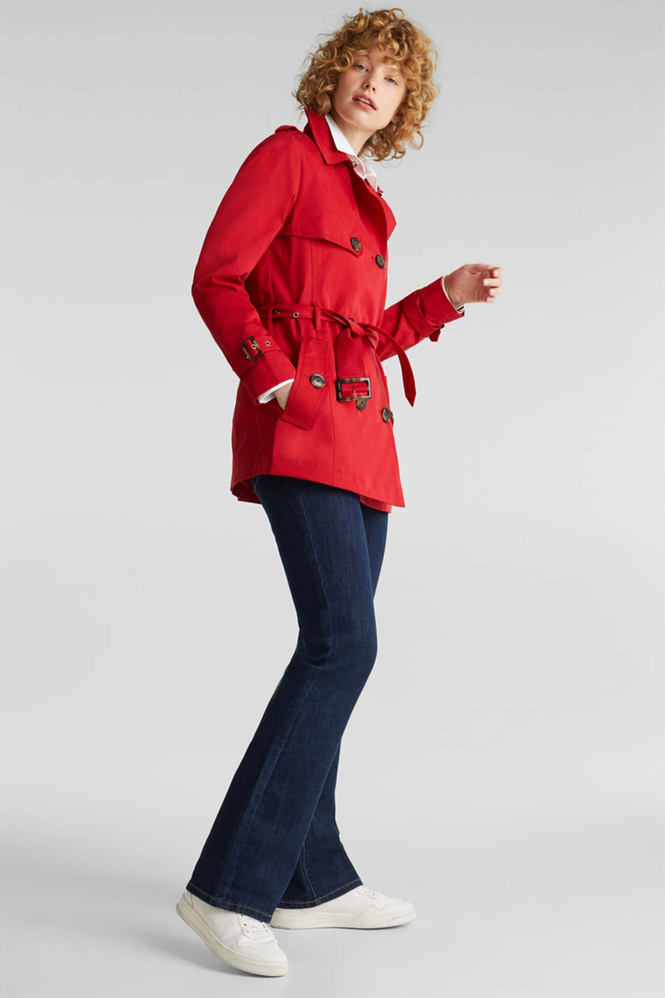 Double-breasted trench coat in blended cotton, DARK RED, detail image number 1