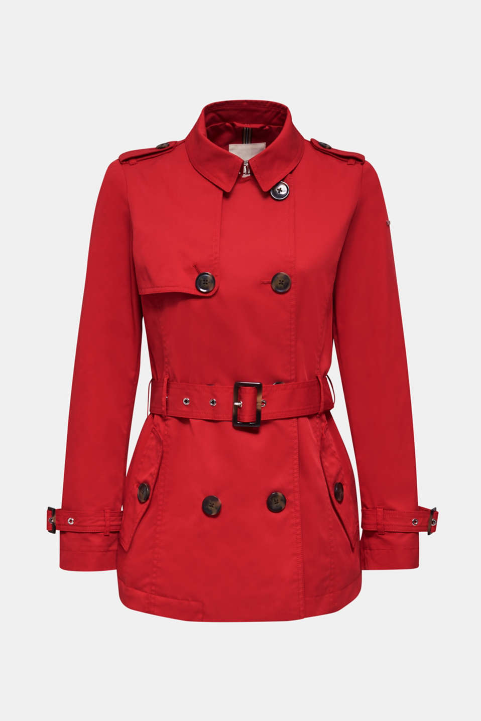 Double-breasted trench coat in blended cotton, DARK RED, detail image number 5