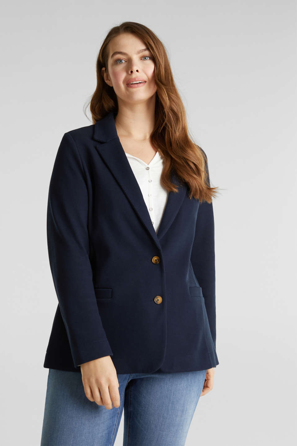 CURVY unlined piqué blazer, NAVY, detail image number 0