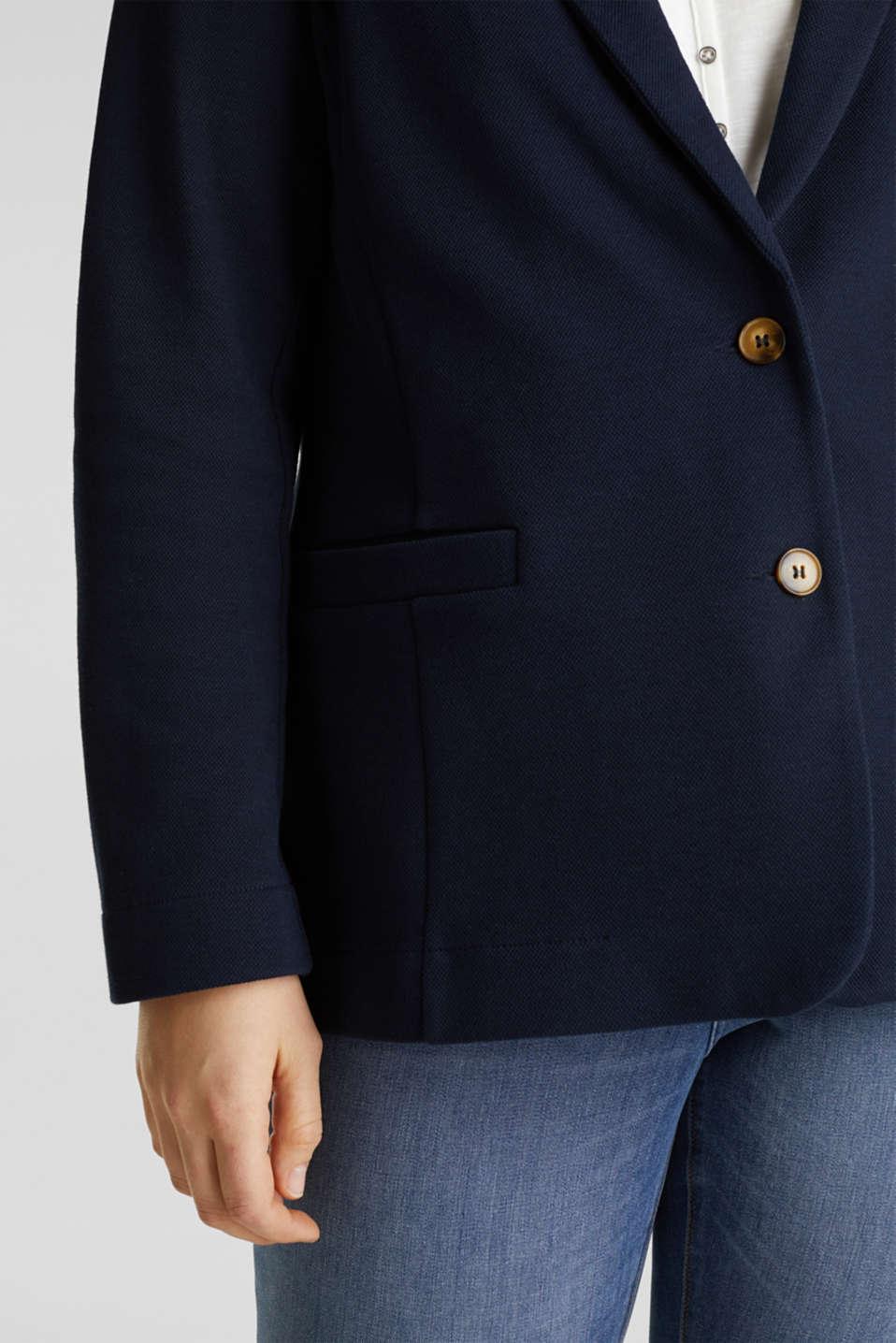 CURVY unlined piqué blazer, NAVY, detail image number 2