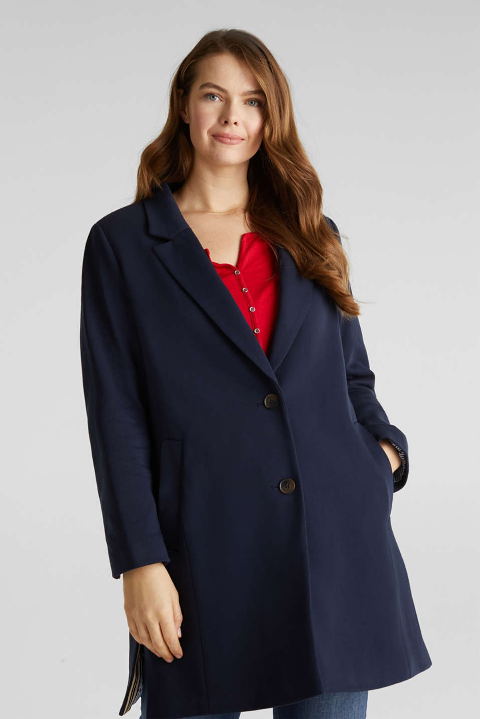 CURVY jersey coat with a striped lining, NAVY, detail image number 0