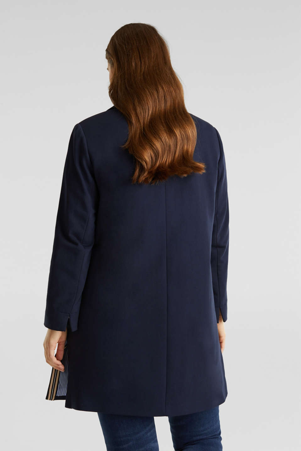 CURVY jersey coat with a striped lining, NAVY, detail image number 3