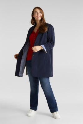 CURVY jersey coat with slits, NAVY, detail