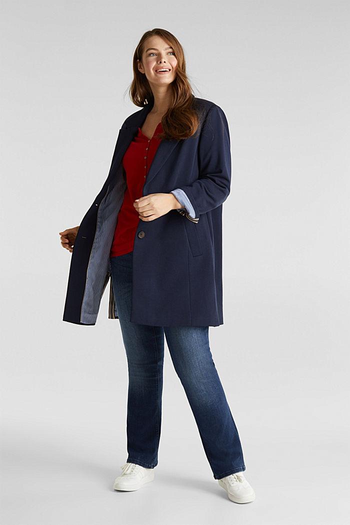CURVY Jersey-Mantel mit Schlitzen