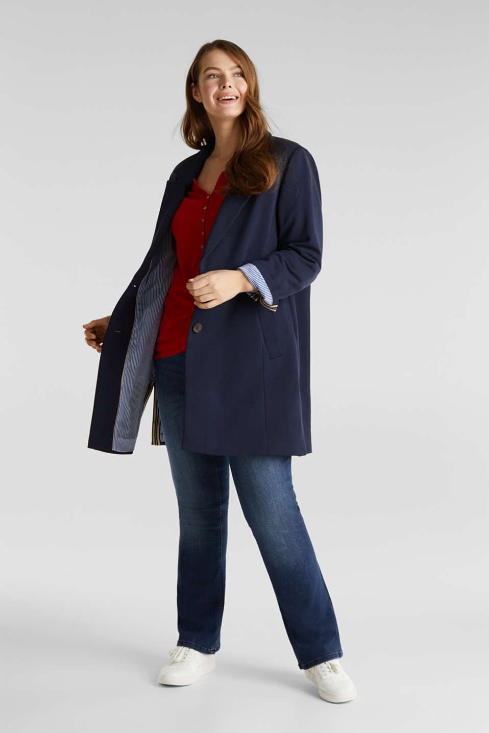 CURVY jersey coat with slits, NAVY, detail image number 1