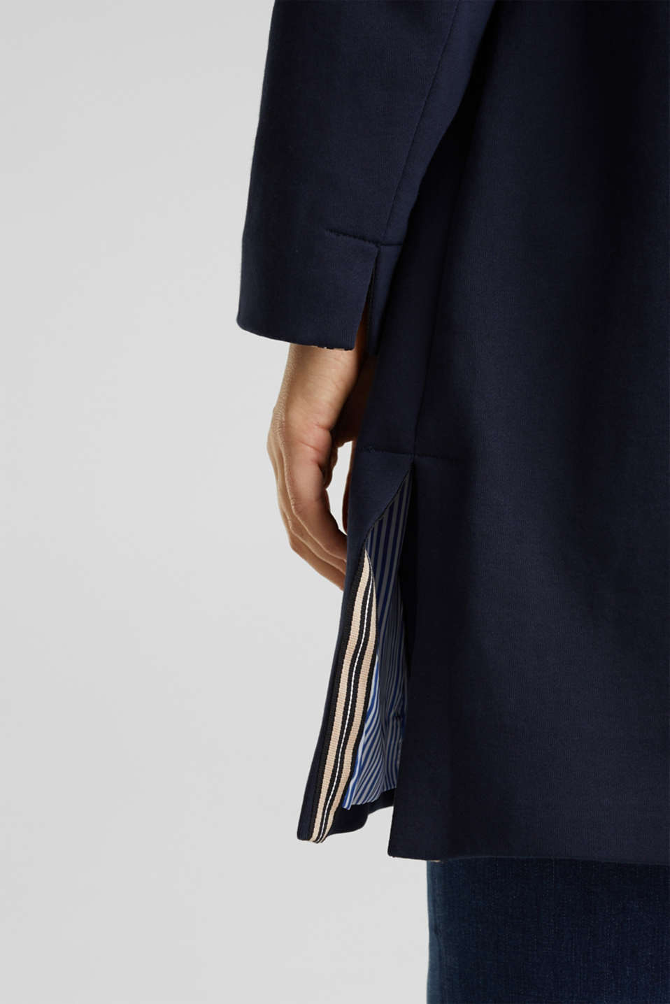 CURVY jersey coat with slits, NAVY, detail image number 5