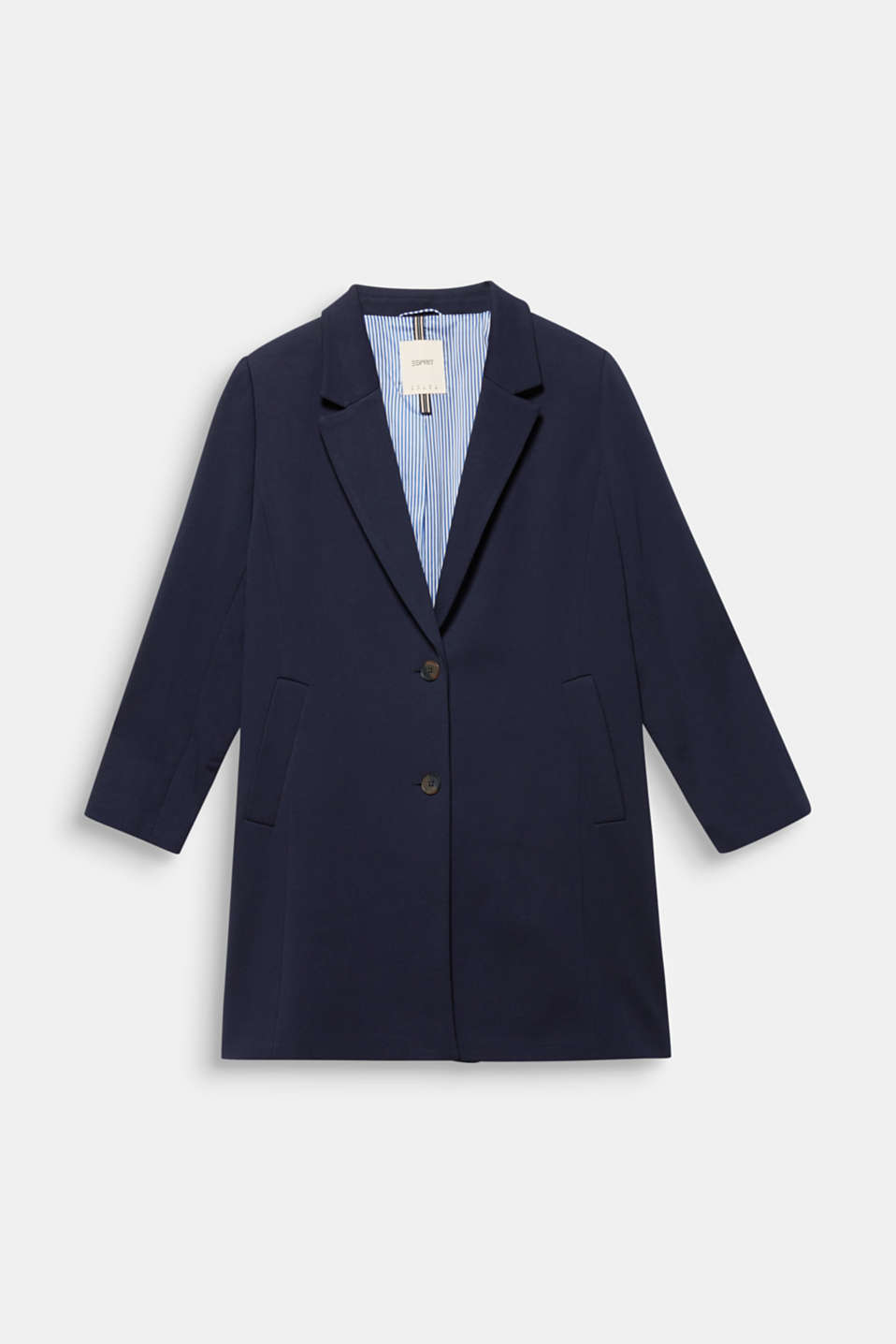 CURVY jersey coat with a striped lining, NAVY, detail image number 6