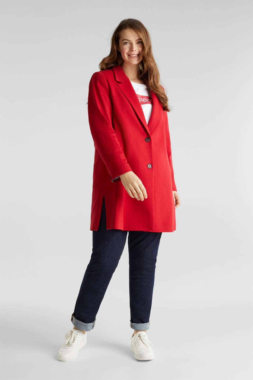 CURVY jersey coat with a striped lining, DARK RED, detail image number 0
