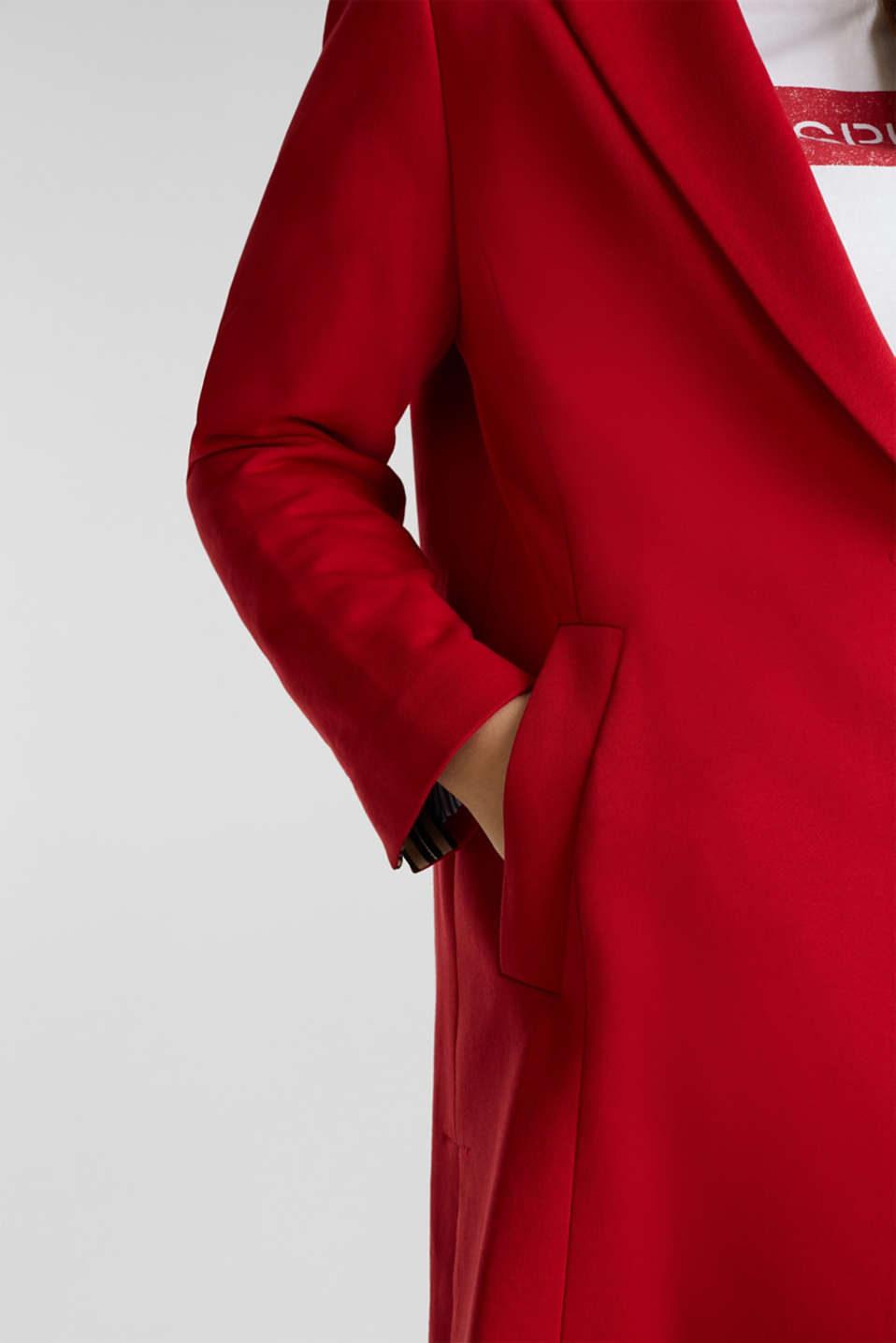 CURVY jersey coat with a striped lining, DARK RED, detail image number 2