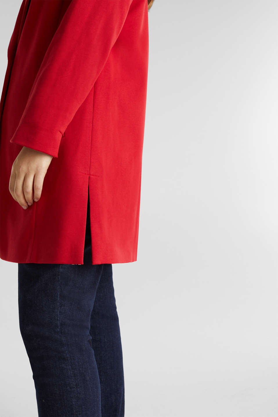 CURVY jersey coat with slits, DARK RED, detail image number 5