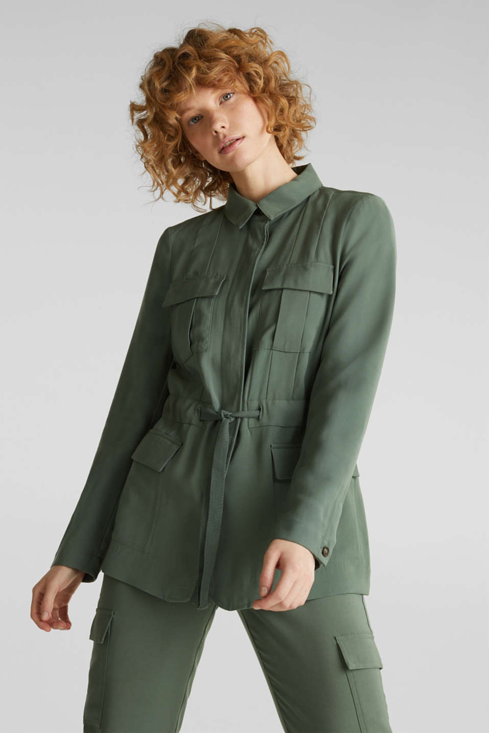 Utility-style shirt jacket, KHAKI GREEN, detail image number 0