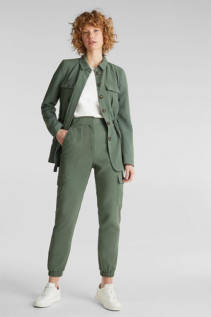 Camisa cazadora estilo militar, KHAKI GREEN, detail image number 1