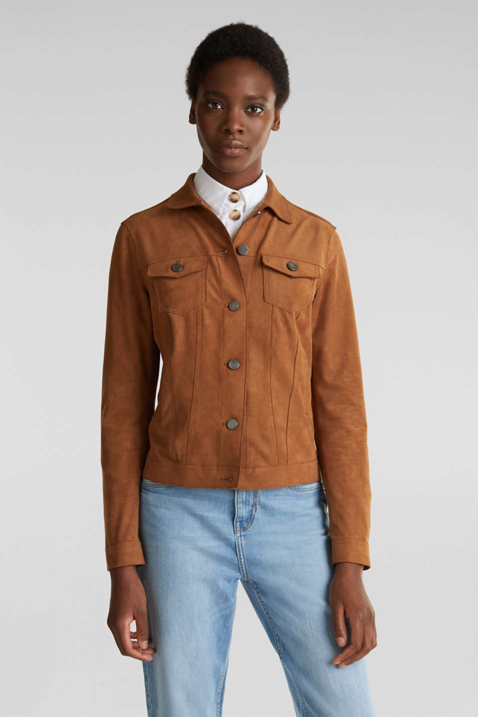 Soft faux suede jacket, TOFFEE, detail image number 0