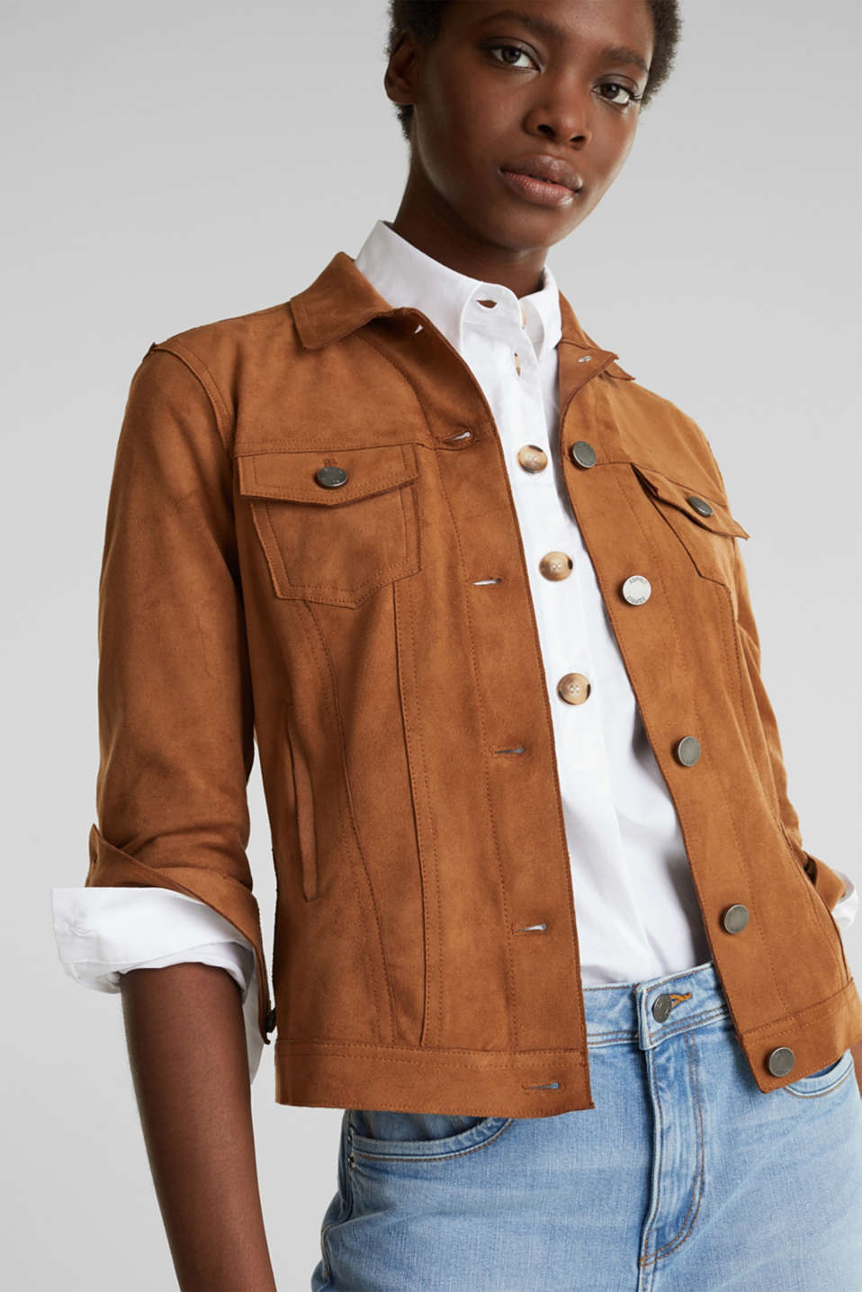 Soft faux suede jacket, TOFFEE, detail image number 5