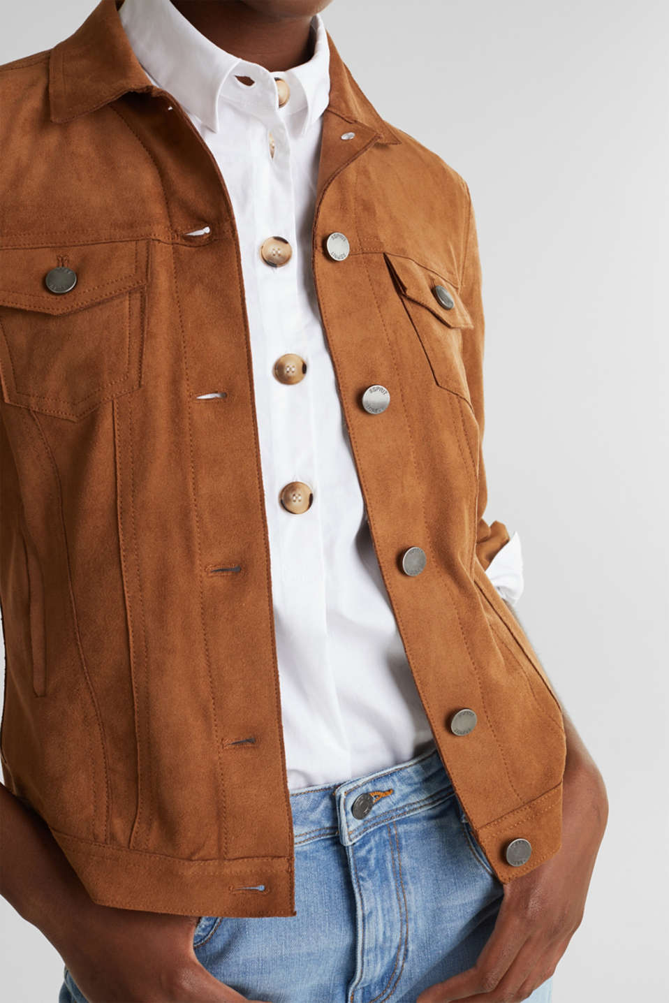 Soft faux suede jacket, TOFFEE, detail image number 2