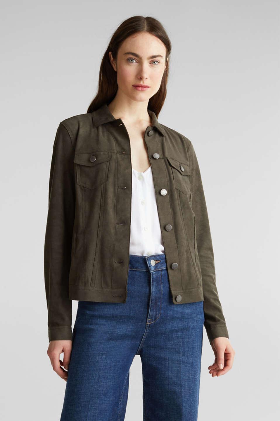 Soft faux suede jacket, KHAKI GREEN, detail image number 0