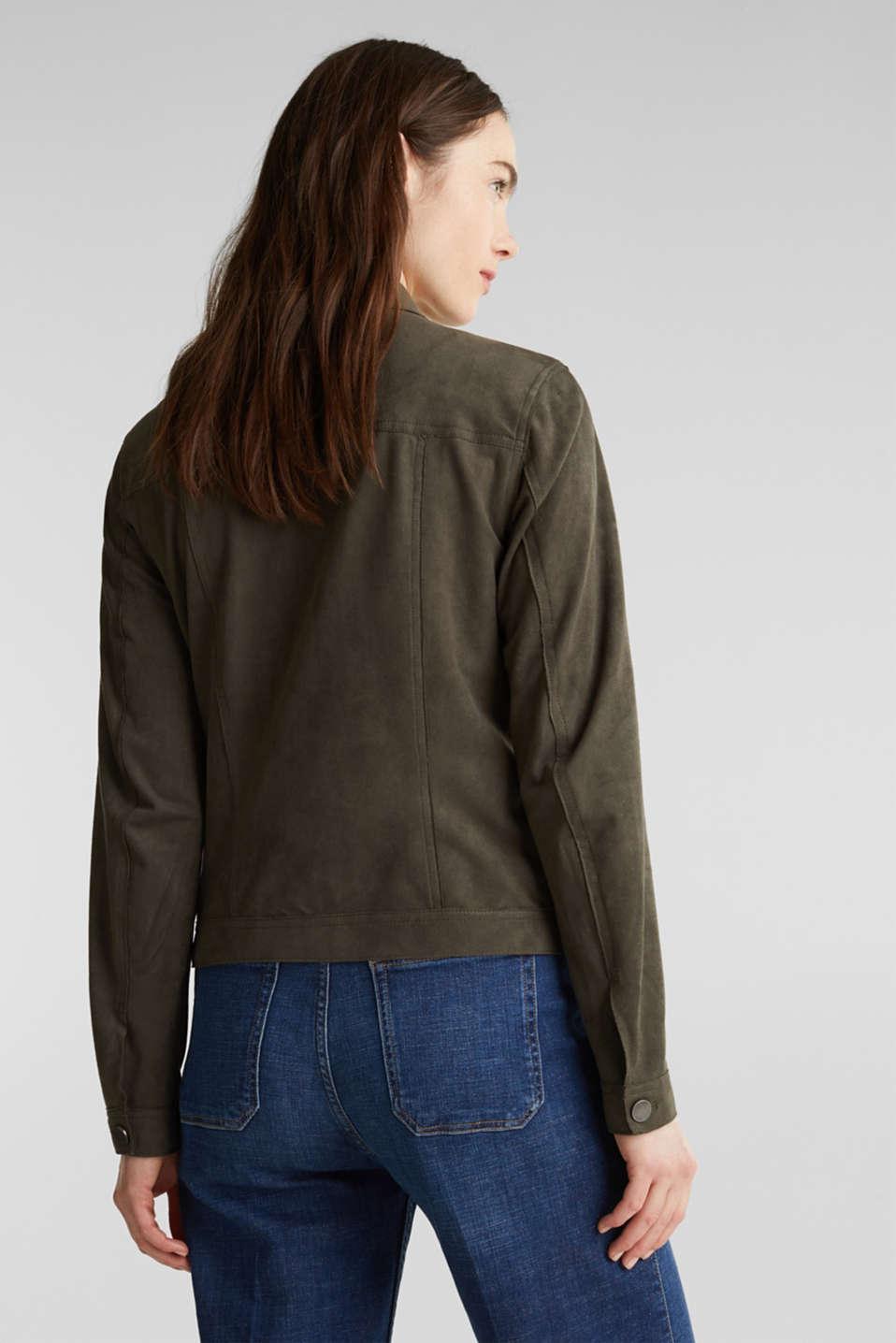 Soft faux suede jacket, KHAKI GREEN, detail image number 3