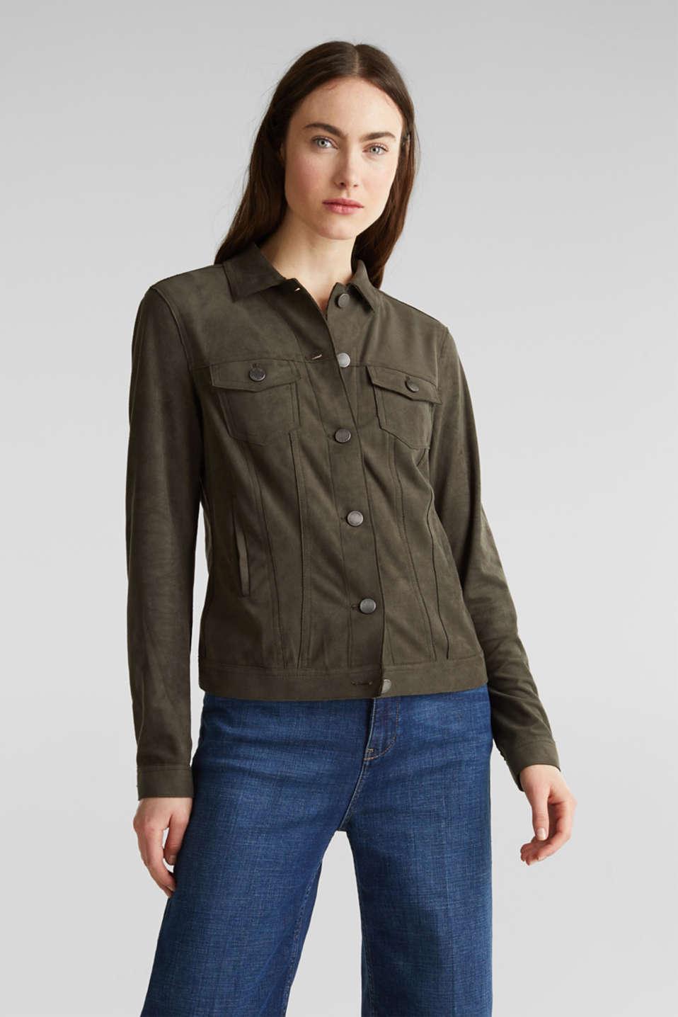 Soft faux suede jacket, KHAKI GREEN, detail image number 5
