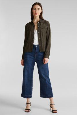 Soft faux suede jacket, KHAKI GREEN, detail