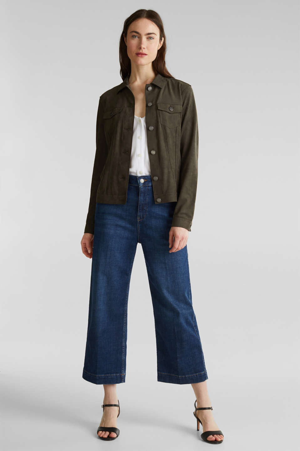 Soft faux suede jacket, KHAKI GREEN, detail image number 1