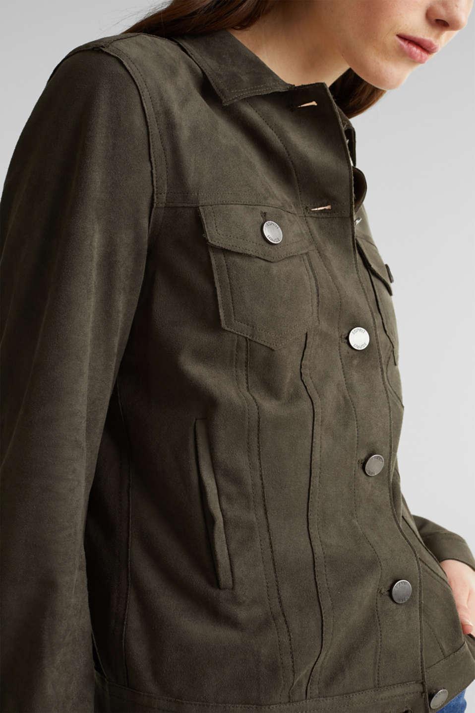 Soft faux suede jacket, KHAKI GREEN, detail image number 2