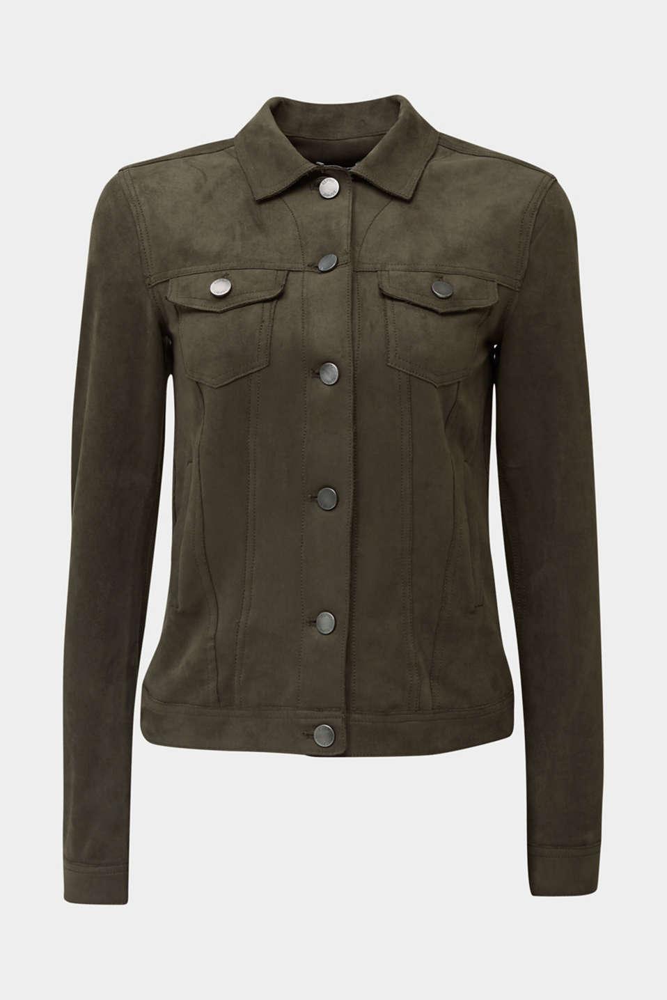 Soft faux suede jacket, KHAKI GREEN, detail image number 6