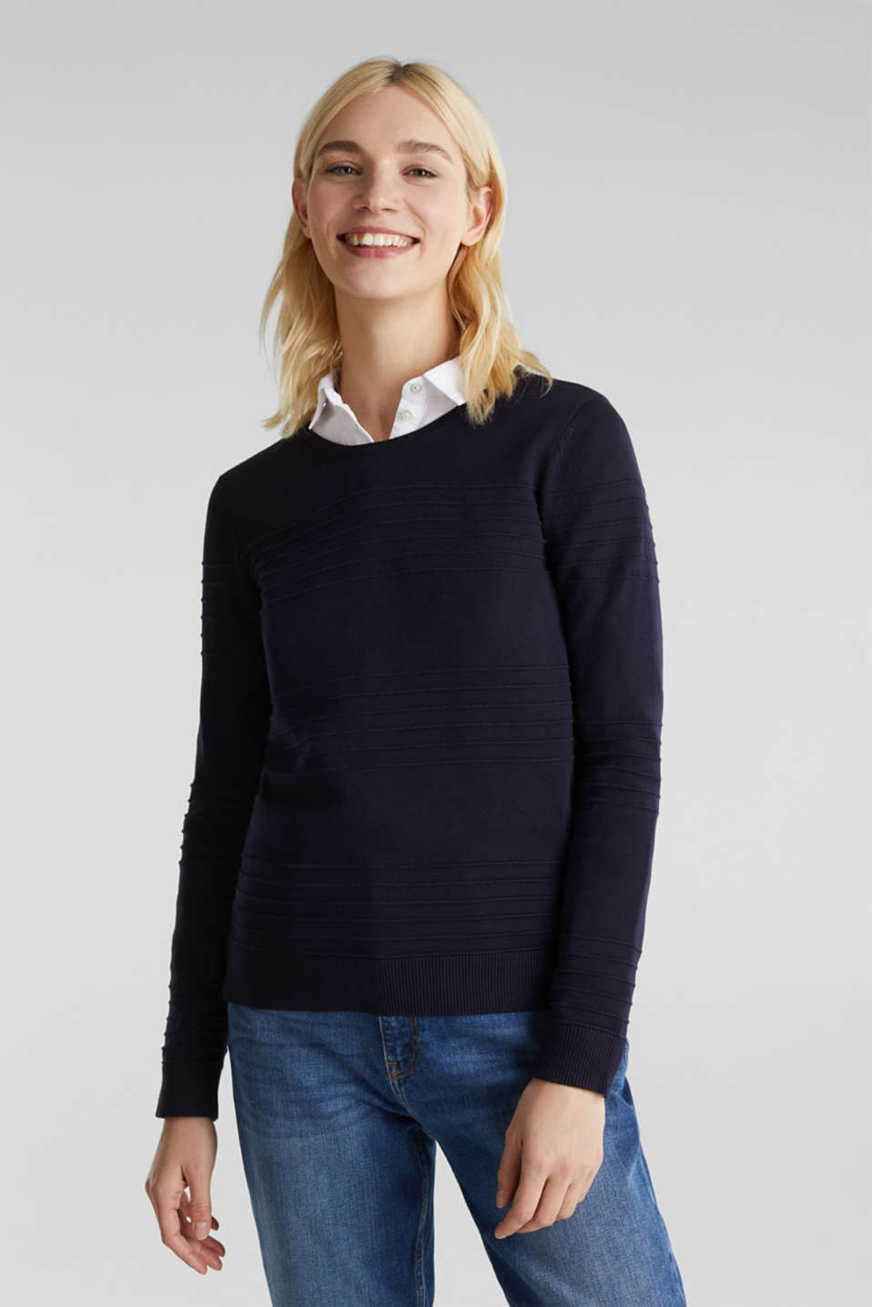 Ribbed-Jumper made of 100% cotton, NAVY, detail image number 0